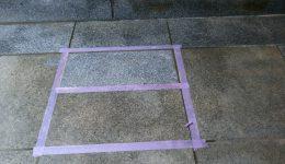 御影石エントランス床シミ抜き特殊洗浄テスト施工