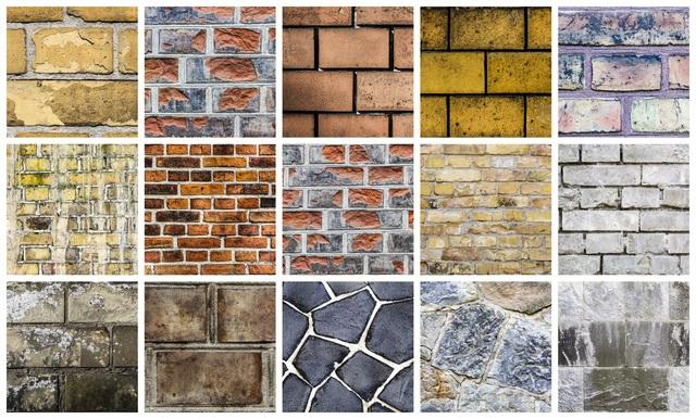 コンクリート、砂岩、レンガ